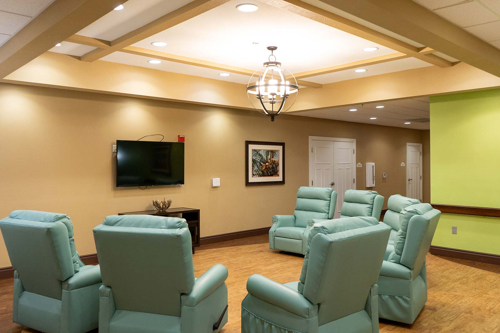 Media room with recliners at Summer Vista